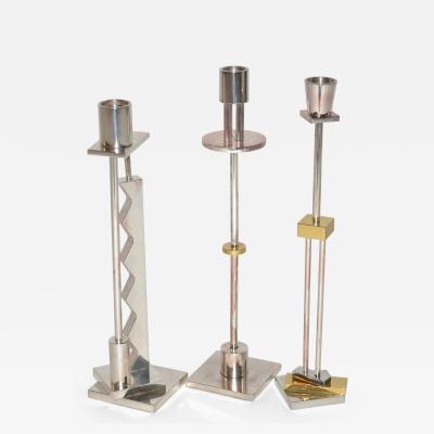Ettore Sottsass Set of Three Sottsass Memphis Postmodern Candlesticks for Swid Powell 1980s