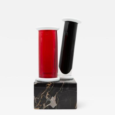 Ettore Sottsass Unique Marble and Murano Glass Vase by Ettore Sottsass for Venini Memphis