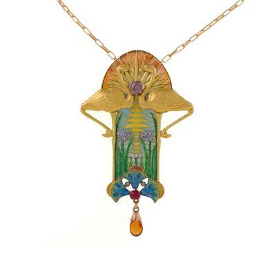 Eug ne Feuill tre French Art Nouveau Diamond Ruby Citrine Plique Jour Gold Pendant Necklace
