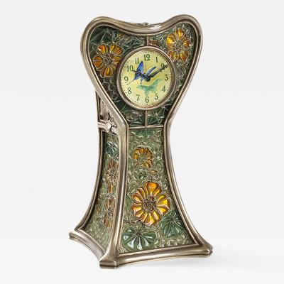 Eug ne Feuill tre French Art Nouveau Silver and plique jour Capucines Enamel Clock