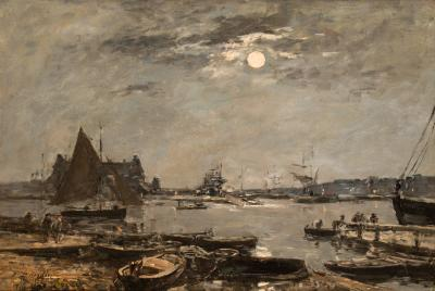 Eug ne Louis Boudin Moonrise Over Trouville