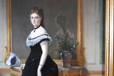 Eugene Accard La Femme en Noir Large 19th Century French Belle Epoque Oil Painting