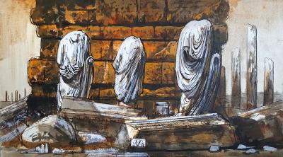 Eugene Berman Leptis Magnus Three Headless Draped Statues Against a Wall