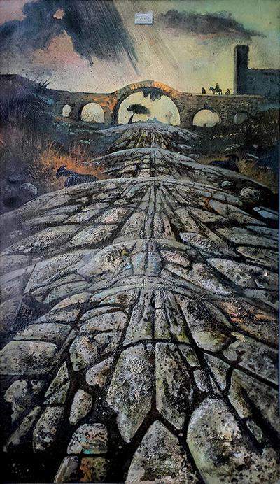Eugene Berman Una Via Romana Antica con Temporale Distante