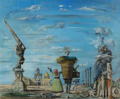 Eugene Berman Vue imaginaire de Rome avec lobelisque de Lorenzo Bernini