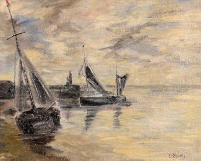 Eugene Boudin Sailboat on Sand