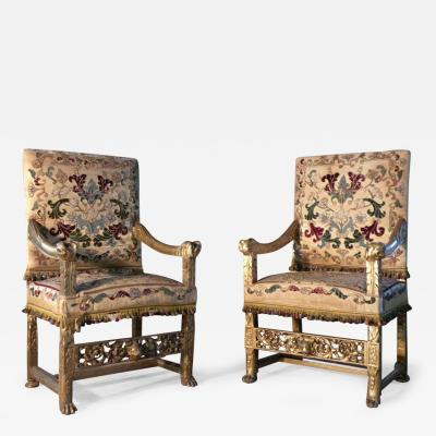 Eugene Grasset Pair of Late 19th Century French Gilt Armchairs by Eugene Grasset