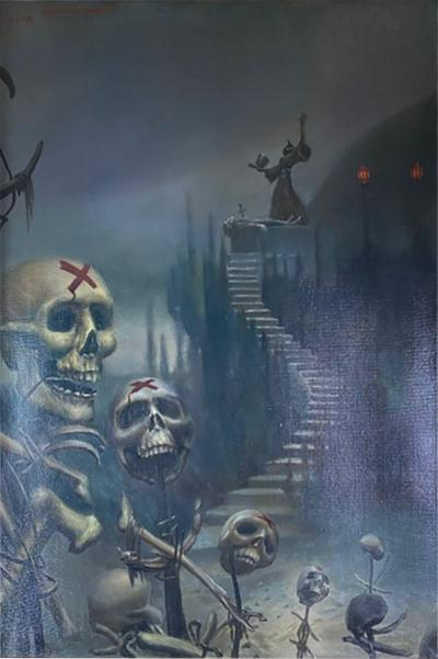 Eugene Kuznetsov MAGNIFICIENT MACABRE DEATH SCENE OIL PAINTING SIGNED BY EUGENE KUZNETSOV