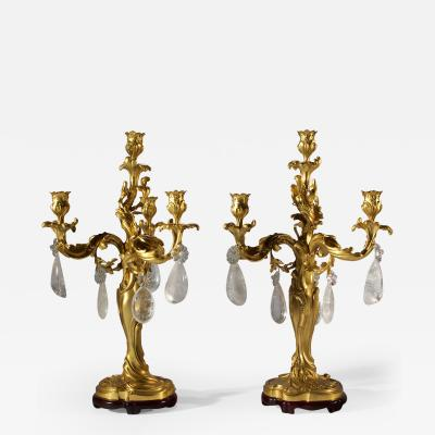 Eugene Leli vre Casted Louis XV French Rococo Style Ormolu Four Light Candelabra by E Lelievre