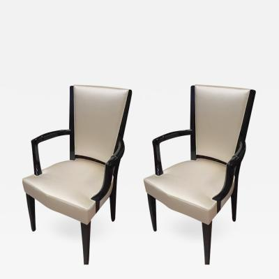 Eugene Printz Eugene Printz Documented Pair of Arm Chairs Fully Restored in Satin Silk
