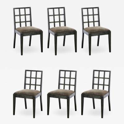 Eugene Schoen Set of Six Mid Century Modern Silver Cerused Oak Dining Chairs by Eugene Schoen