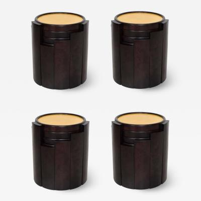 Eugenio Escudero 1950s Escudero Modernism Nesting Tables in Goatskin and Leather Set of Four
