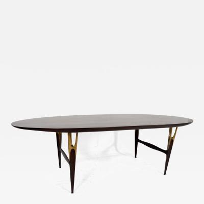 Eugenio Escudero Mexican Modernist Sculptural Oval Dining Table Mahogany Bronze Attr Escudero