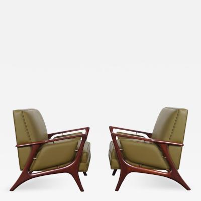 Eugenio Escudero Mid Century Leather Lounge Chairs by Eugenio Escudero