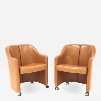 Eugenio Gerli Eugenio Gerli for Tecno Series 142 Leather Chairs