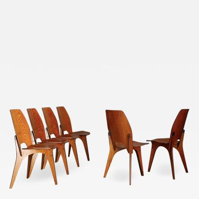 Eugenio Gerli Osvaldo Borsani Set of Six Chairs by Eugenio Gerli for Tecno