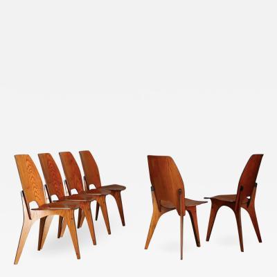 Eugenio Gerli Osvaldo Borsani Set of Six Chairs by Eugenio Gerli for Tecno