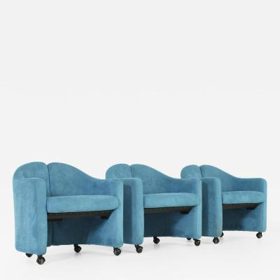 Eugenio Gerli PS142 Armchair by Eugenio Gerli in Blue Nubuck Leather
