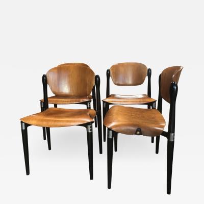 Eugenio Gerli Set of 4 Rosewood and Black Lacquered S83 Side Chairs by E Gerli for Tecno
