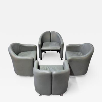 Eugenio Gerli Set of Four Eugenio Gerli for Tecno Leather Chairs