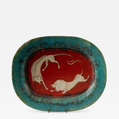 Eugenio Pattarino Italian Ceramic Art Platter by Eugenio Pattarino