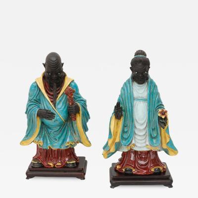 Eugenio Pattarino Pair of Chinese Ancestral Figures by Professor Eugenio Pattarino