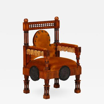Eugenio Quarti Eugenio Quarti Armchair Trone in Italian Liberty early 19th Century