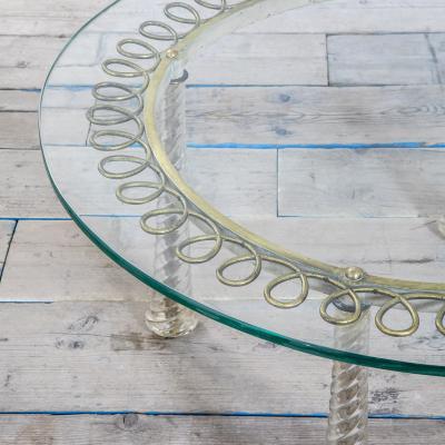 Eugenio Quarti Eugenio Quarti Coffee Table in Brass and Murano Spiral Glass 30s