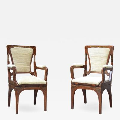 Eugenio Quarti Set of 2 Inlaid Wooden Seats By Eugenio Quarti