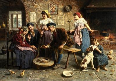 Eugenio Zampighi Fine Painting depicting an Italian Family