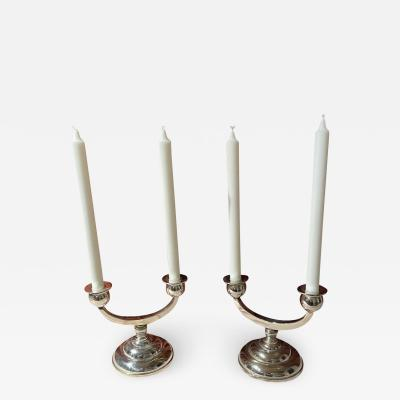 European Art Deco Style Silver Plated Candlesticks