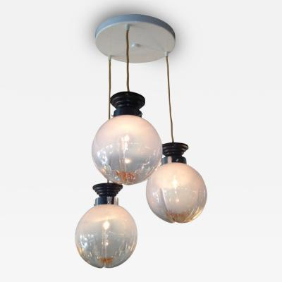 European Art Glass Globe Art Deco Chandelier