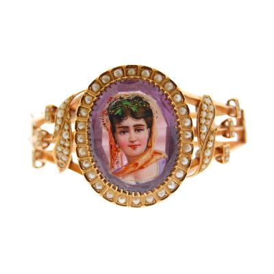 European Enamel Portrait and Amethyst Bangle