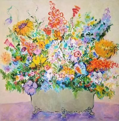 Eva Hannah Spring Flowers oil on canvas by Eva Hannah