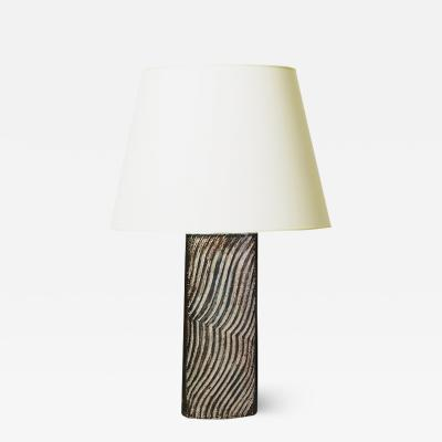 Eva St hr Nielsen Striking Table Lamp with Carved Pattern by Eva Staer Nielsen