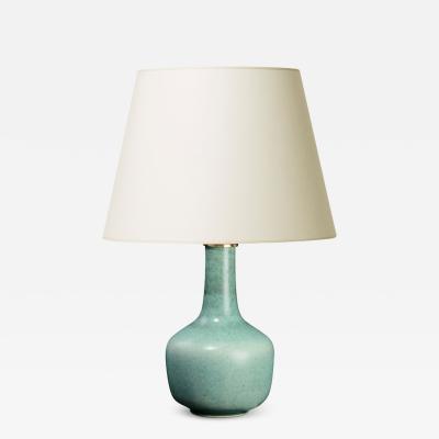 Eva St hr Nielsen Table lamp with blue green glaze by Eva Staehr Nielsen