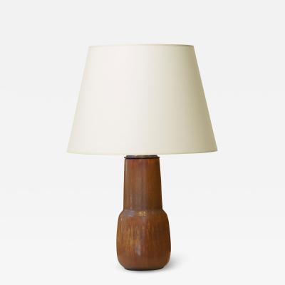 Eva St hr Nielsen Table lamp with tiered form and harefur glaze by Eva Staehr Nielsen