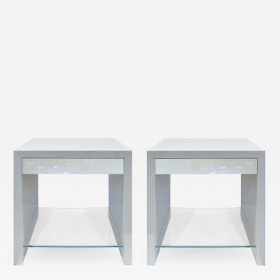 Evan Lobel Lobel Originals Pair of Pearl Front Bedside Tables