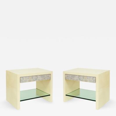 Evan Lobel Pair of Pearl Front Bedside Tables by Evan Lobel for Lobel Originals