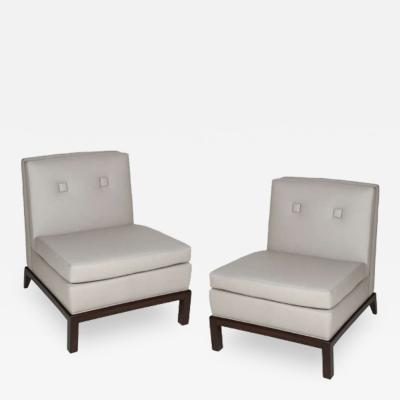 Everett Sebring Pair of Custom Leather Upholstered Slipper Chairs by Everett Sebring