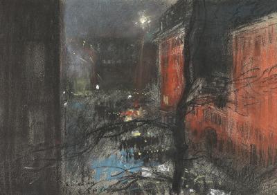 Everett Shinn Nocturne Gramercy Park New York 1901
