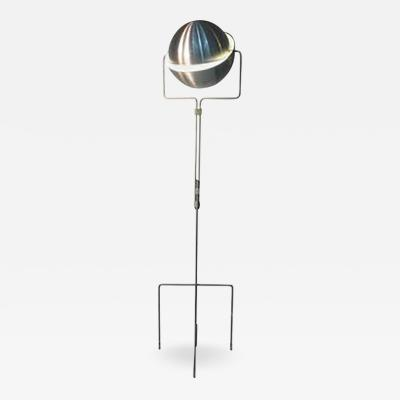 Evert Jelle Jelles Mid Century Articulated RAAK Eclipse Globe Floor Lamp in Brushed Aluminum