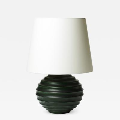 Ewald Dahlskog Functionalist Table Lamp with Deep Green Glazing by Ewald Dahlskog
