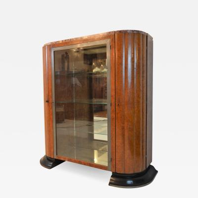 Exceptional Art Deco Vitrine in Amboina wood France 1930s