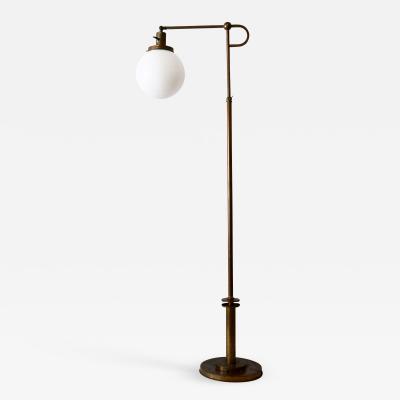 Exceptional Bauhaus Art Deco Articulated Brass Floor Lamp Germany 1920s