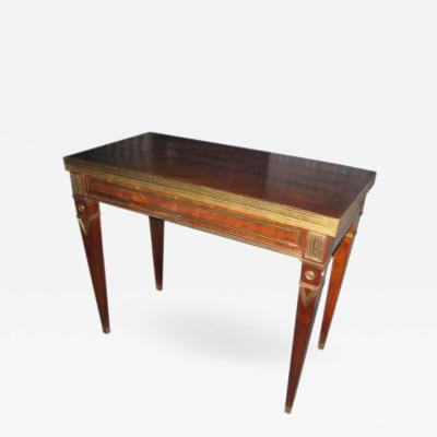 Exceptional Brass Inlaid Card or Gaming Table in the Neoclassic Manner