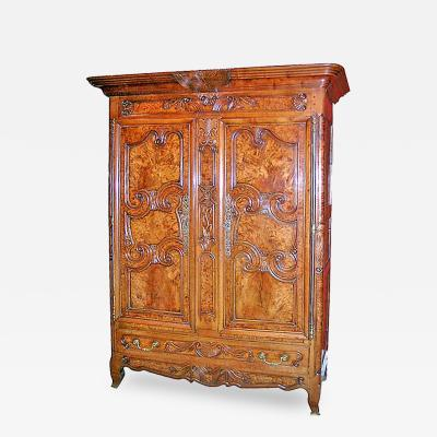 Exceptional Burl French Armoire dated 1845