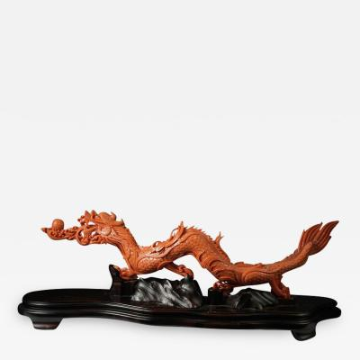 Exceptional Chinese Carved Coral Dragon with Fire Qing Dynasty
