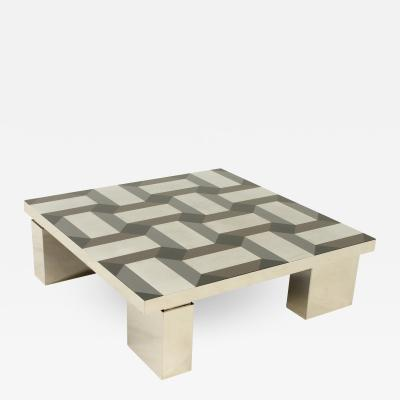 Exceptional Coffee Table with Geometric Pattern Top Italy 1970s