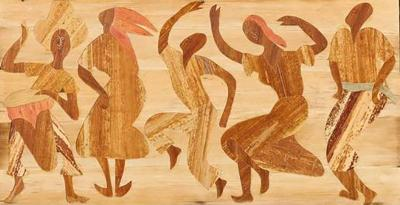 Exceptional Folk Art Dance Scene Executed in Wood Inlay